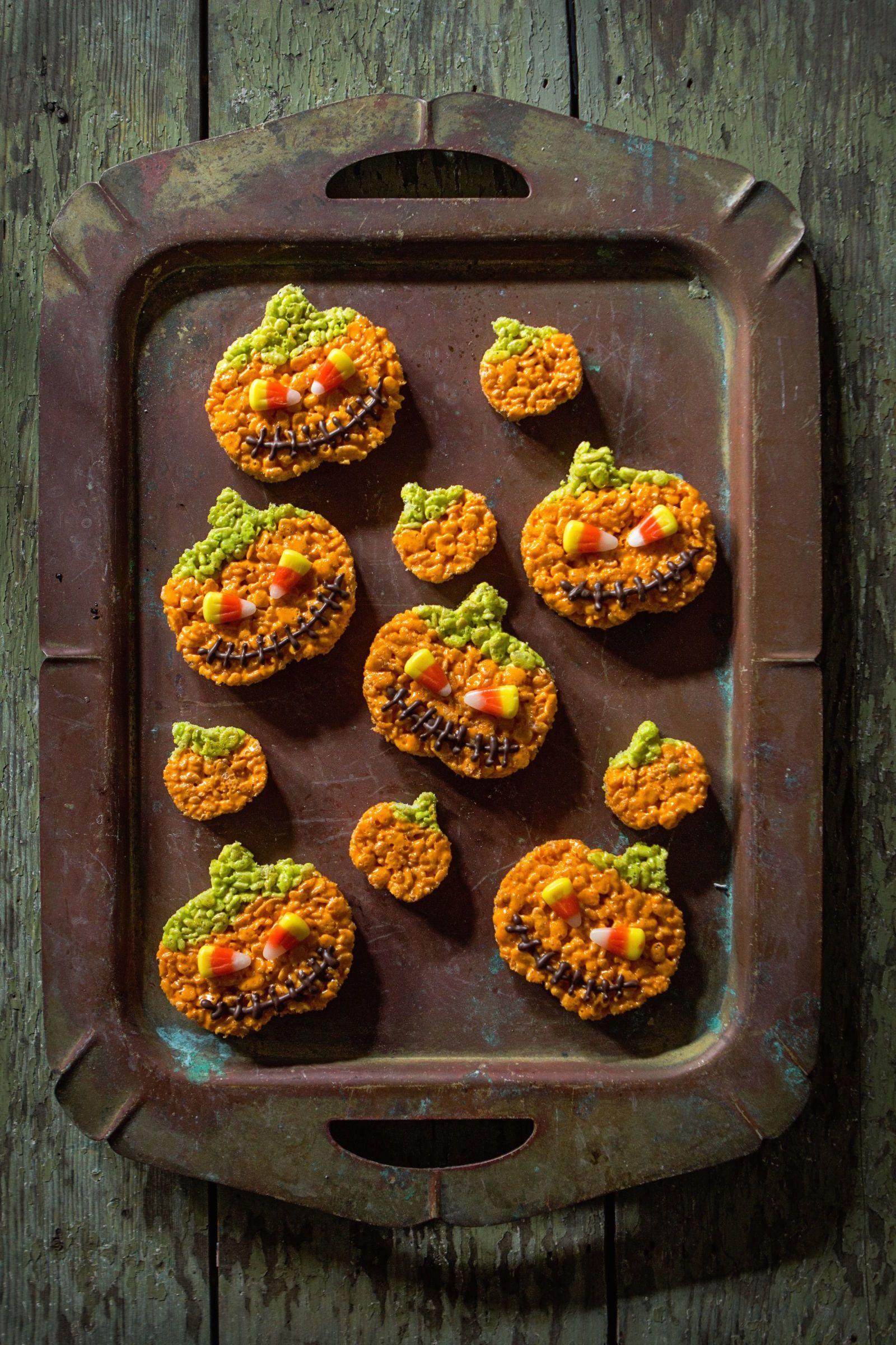 rice crispy pumpkin halloween treats