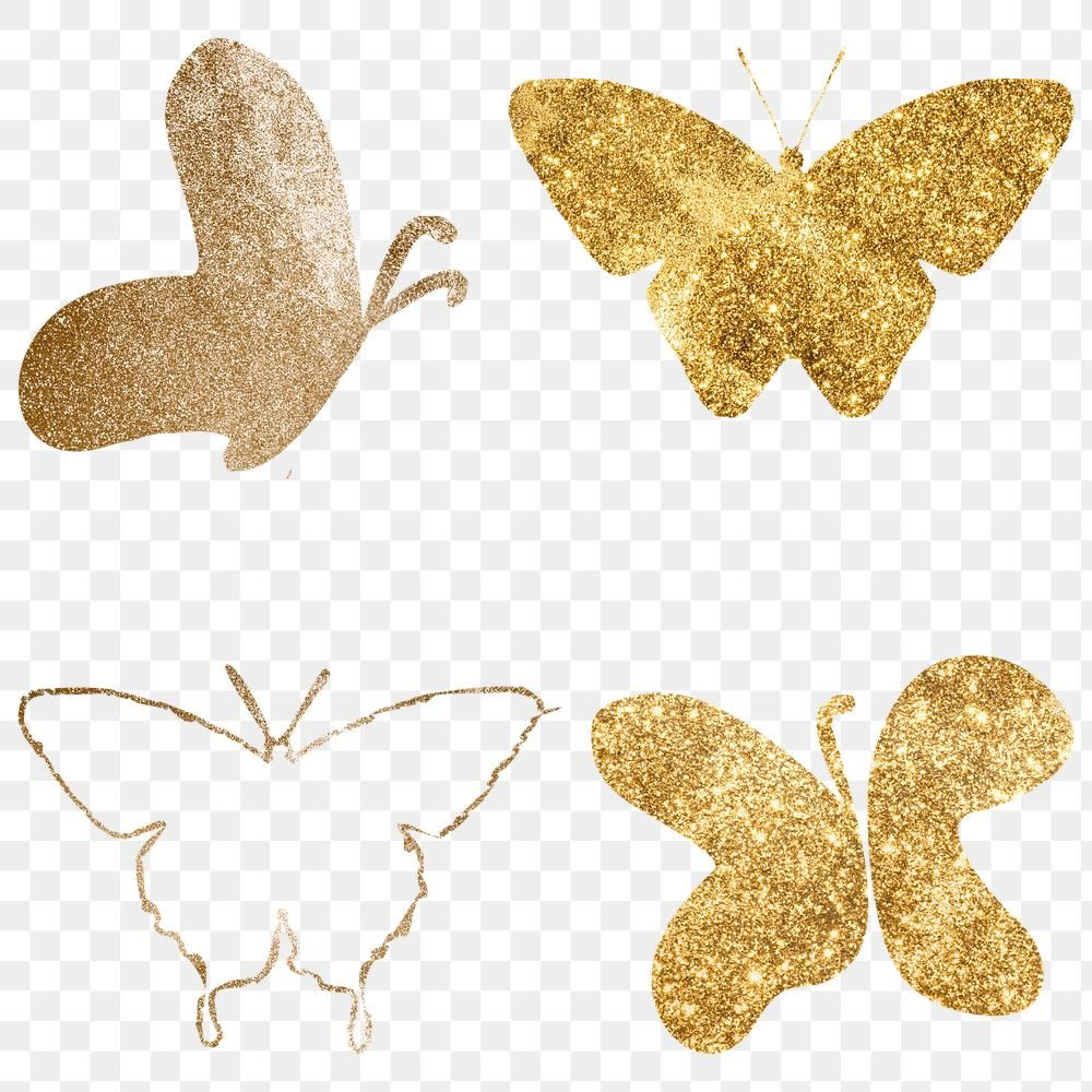 Glitter Png Gold Butterfly Collection Free Image By Rawpixel Com Adj Butterfly Outline Gold Butterfly Butterfly