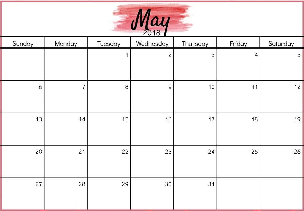Printable May 2018 Calendar Template Pdf Download With Holidays