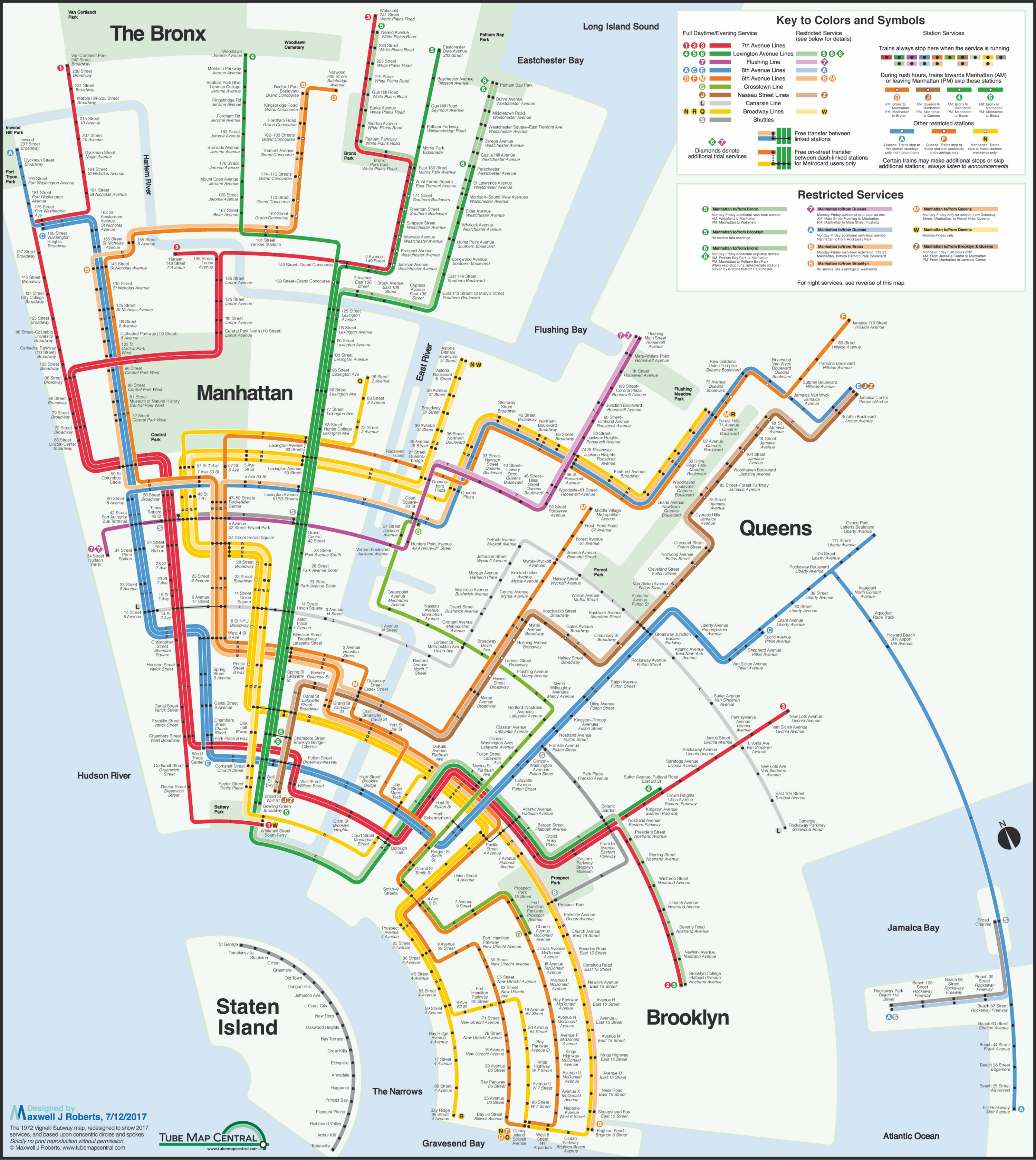 Broadway Subway Map.New York City Subway Concentric Circle Map In A Massimo Vignelli