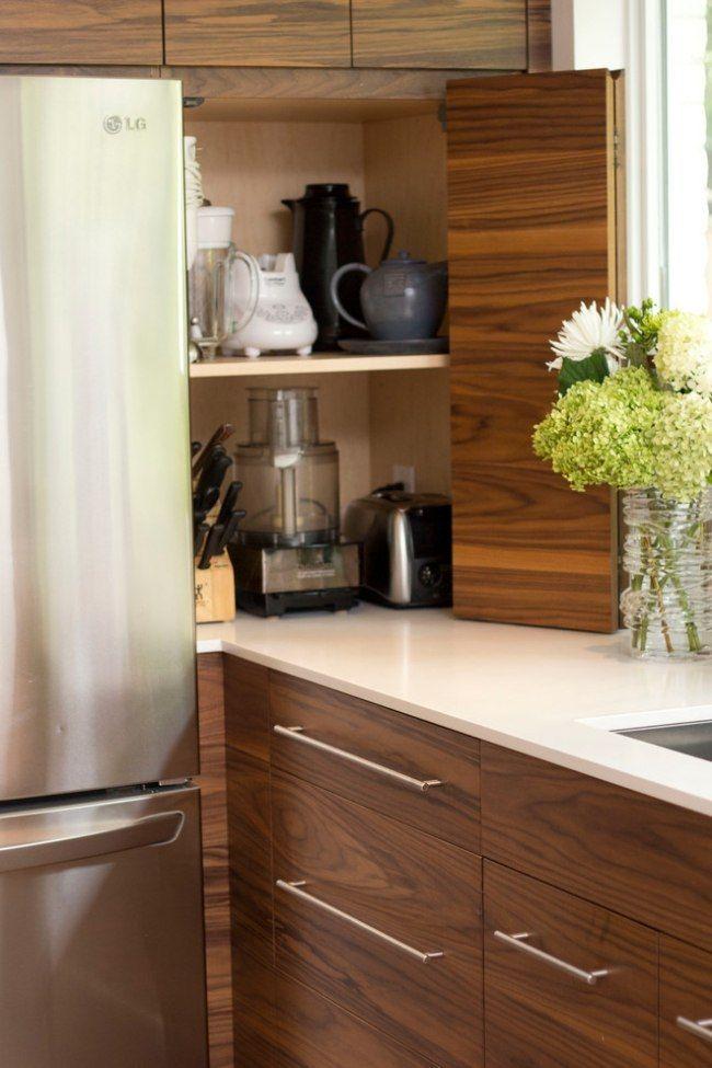 moderne holz küche elektrogeräte verstecken klapptür regal Küche - kleine regale für küche