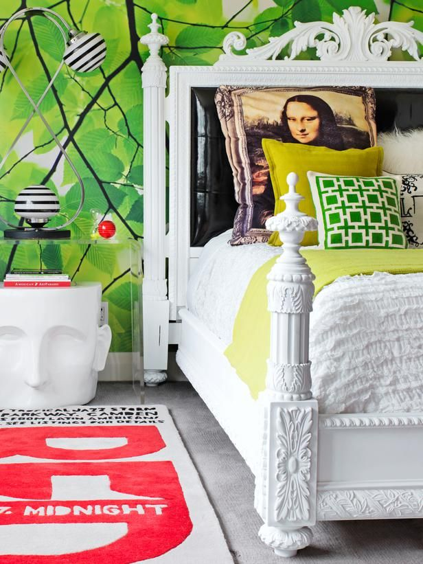 The bright, print wallpaper in David Bromstad's bedroom is from paperspace.co.uk and his bed is a thrift store find that he sprayed with a flat white paint.