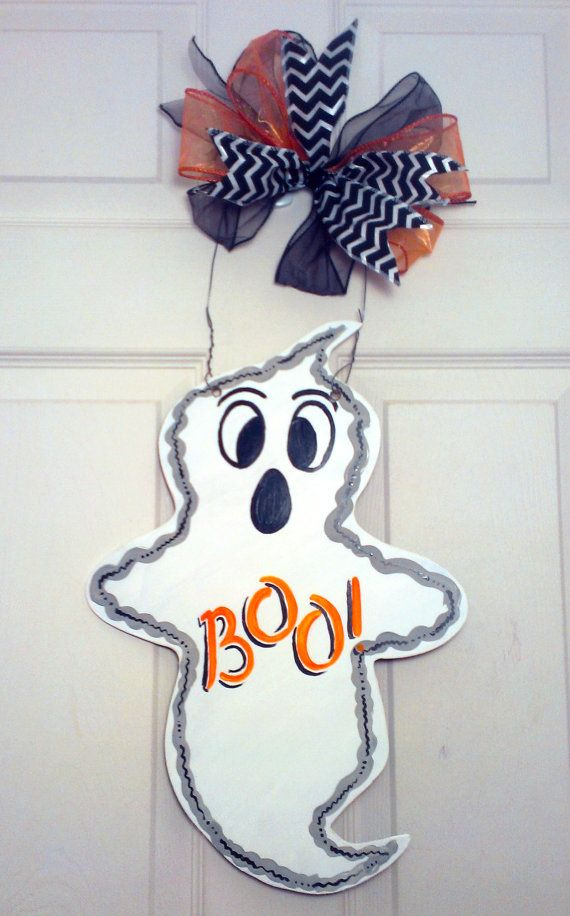 Boo! Ghost Wood Door Hanger or Sign - Perfect for Halloween or Fall!