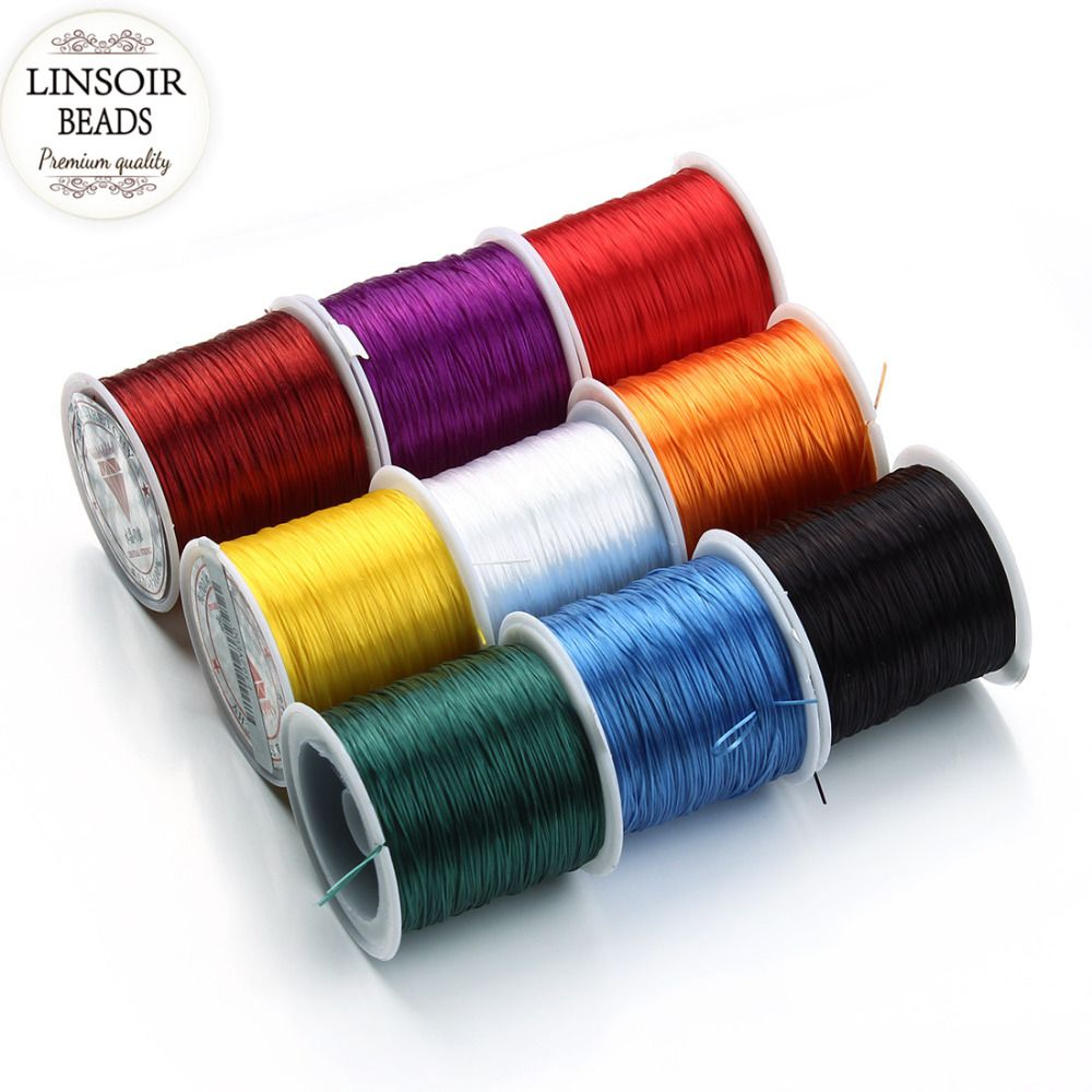 Linsoir 40meters Roll Round Stretch Elastic Cord For Bracelets Necklace Nylon Beading String Thread