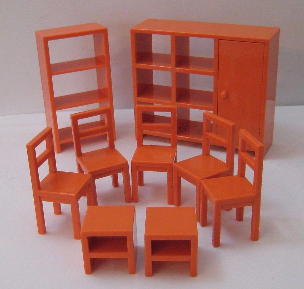 ikea dollhouse furniture. Lot Of 9 Ikea Dollhouse Furniture Bookcases Chairs End Tables Orange Plastic #Ikea T