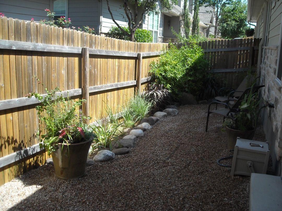 Small rocks instead of artificial grass; garden bed along ... on Zen Front Yard Ideas id=76271