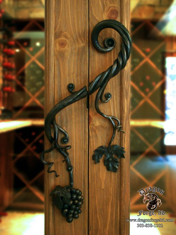 Forged wine cellar door pull with hand forged grapes dragon forge ltd custom ornamental iron - Cellar door hinges ...