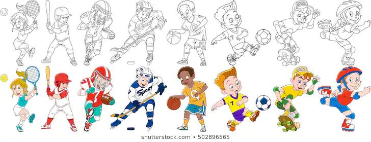 Kids Playing Sports Drawing Căutare Google In 2020 Kids Playing Sports Sports Drawings Kids Playing