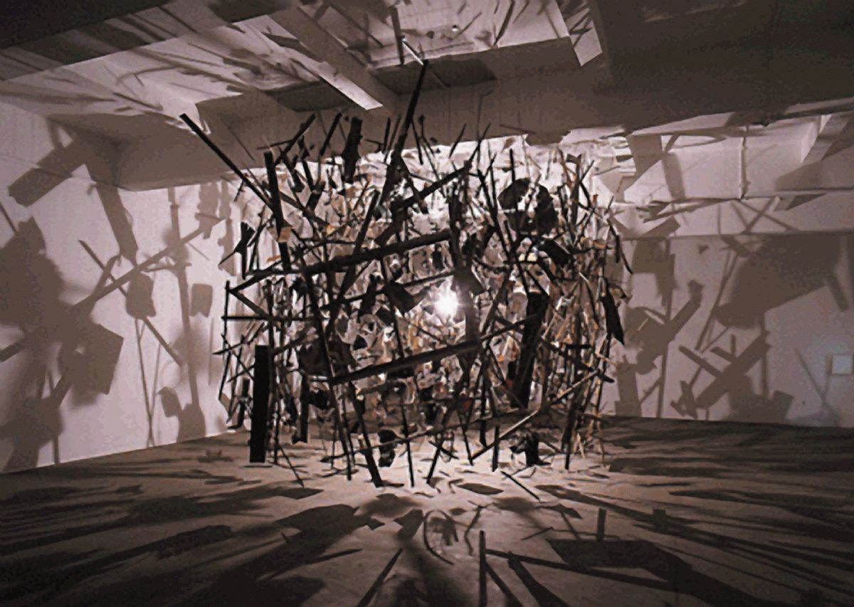 Cold dark matter 1991 cornelia parker yes its an exploded garden shed made into something fabulous one of my favourite pieces of art ever