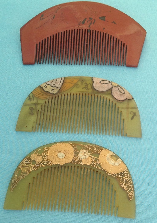 H0036 Antique Japanese Kushi Hair Combs (3) | eBay