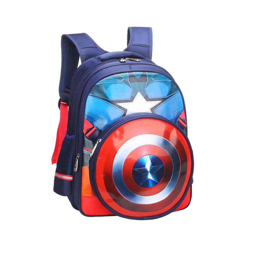 YOURNELO Kids Cute Fashion New Marvel Superhero Backpack School Bag Bookbag  Rucksack A Captain America Dark Blue    You can obtain added information at  the ... b6a9fcba2728a