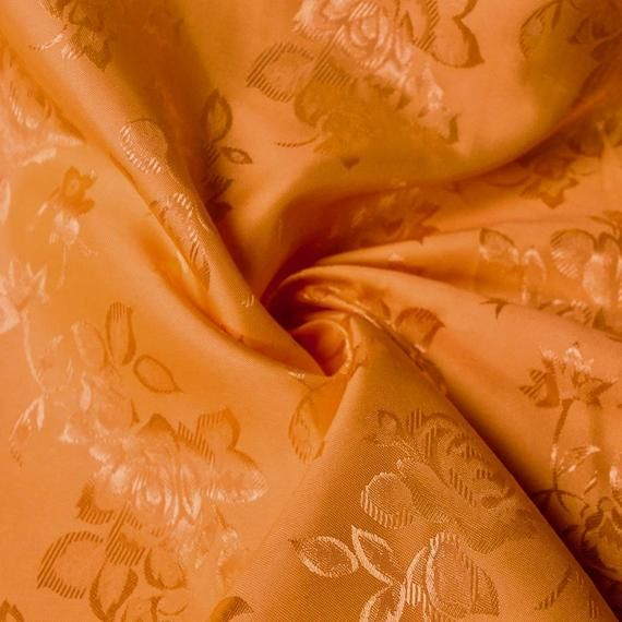 "Orange FLORAL ROSE JACQUARD SATIN FABRIC 60/"" WIDTH SOLD BY THE YARD"