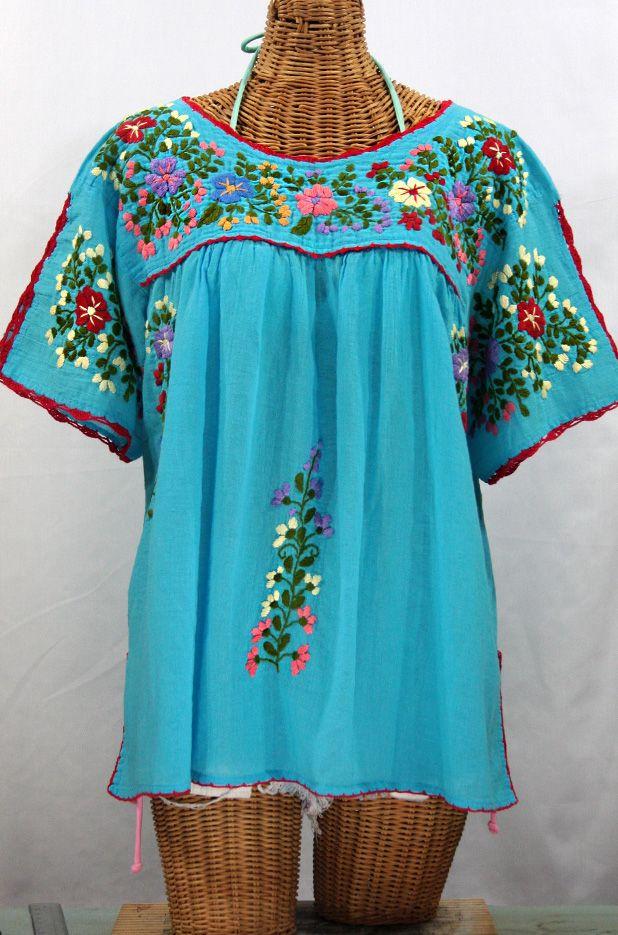 Lijera Libre Plus Size Embroidered Mexican Blouse Aqua