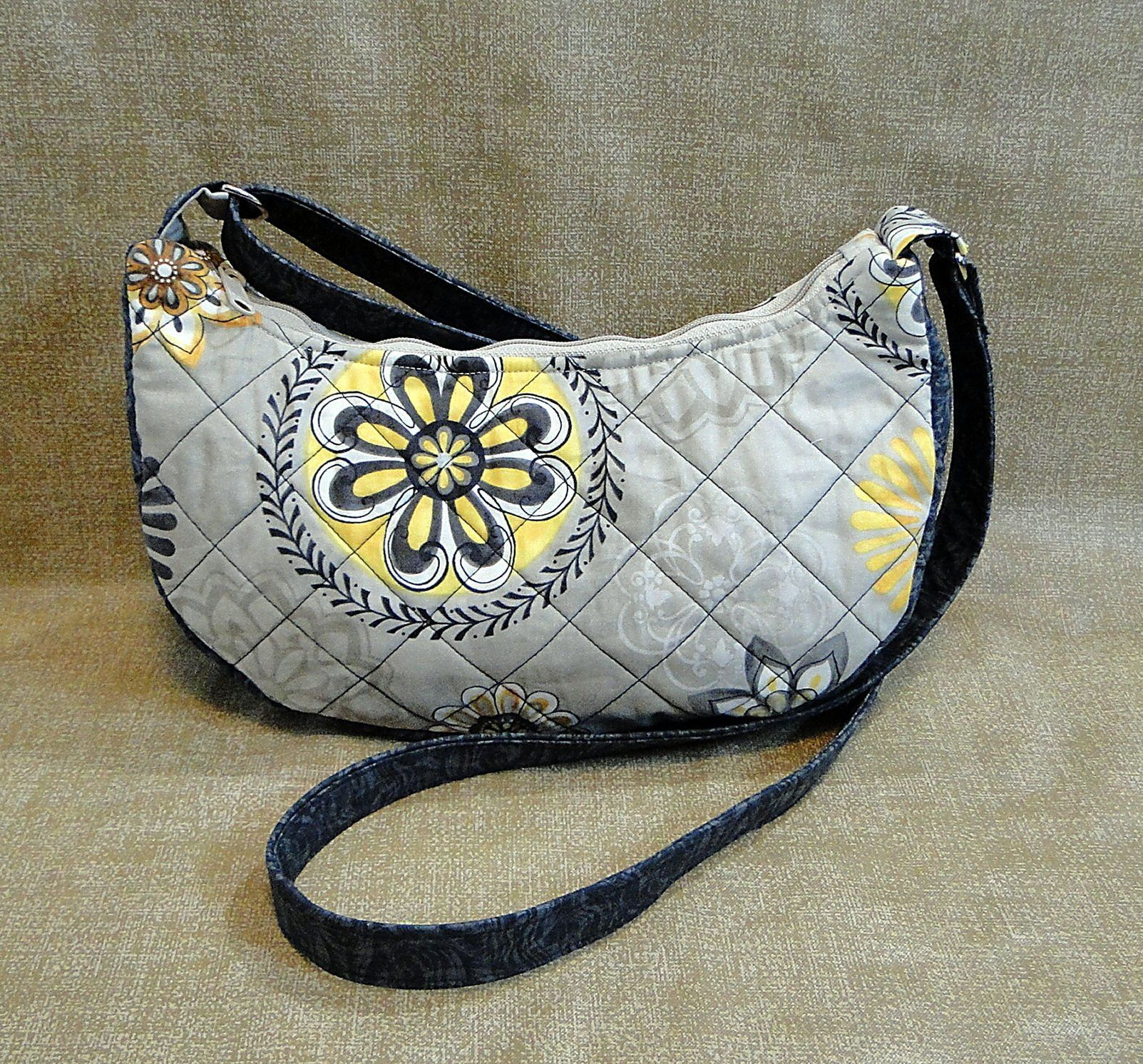 Conceal Carry Hobo Bag, Gray, Quilted Fabric Purse, Medium