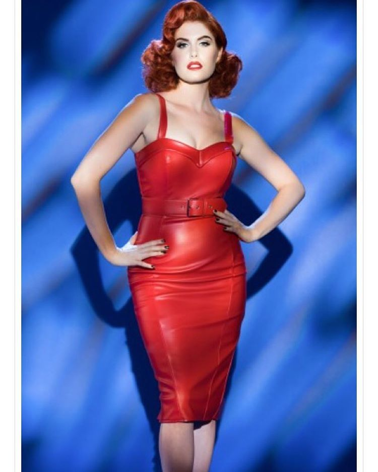 Coming to your closet very, very soon from @pinupgirlclothing .com ❤️❤️❤️ Shot by @caseycurry Makeup @michelinepitt @erikareno_artistry @cinemansugar  Hair @missrockabillyruby @technicolorcutie ❤️❤️❤️ #deadlydames #pinupgirlclothing #pinup #redhead #reddress #wiggledress #pleather #comingsoon