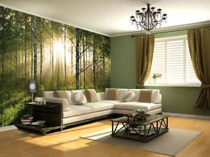 Wallpaper Based On Nature Theme With The Combination Of Green Walls U0026  Yellow Flouring Gives A. Forest WallpaperWallpaper MuralsLiving Room ...
