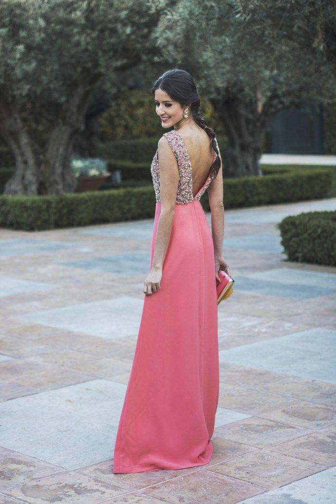 Vestido largo espalda abierta coral | Invitadas | Pinterest | Coral ...