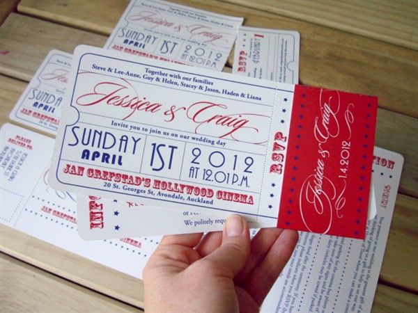 movie ticket wedding invitations movie ticket theme wedding invitation - Movie Ticket Wedding Invitations