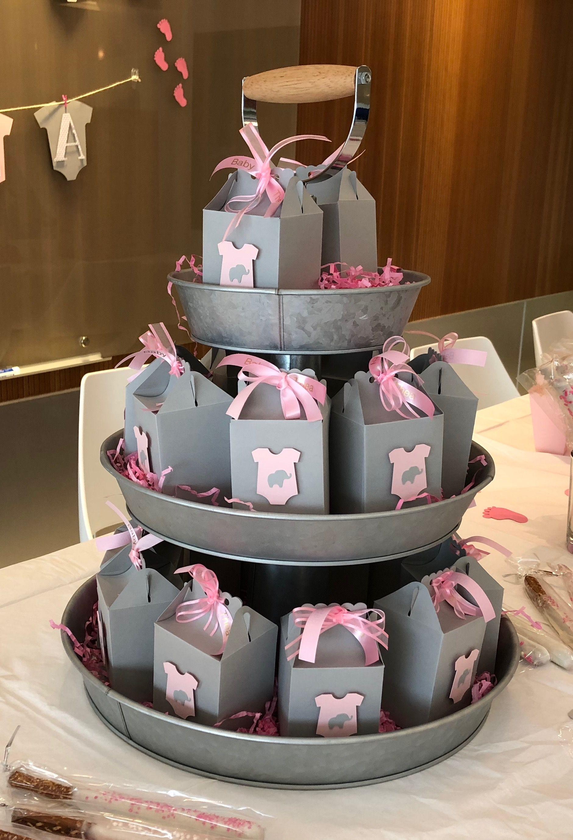 Cricut treat box with elephant decor baby shower treats