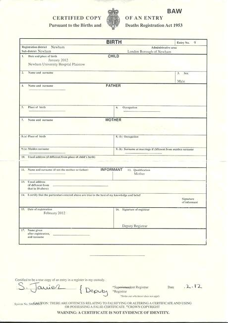 South African Birth Certificate Template (11