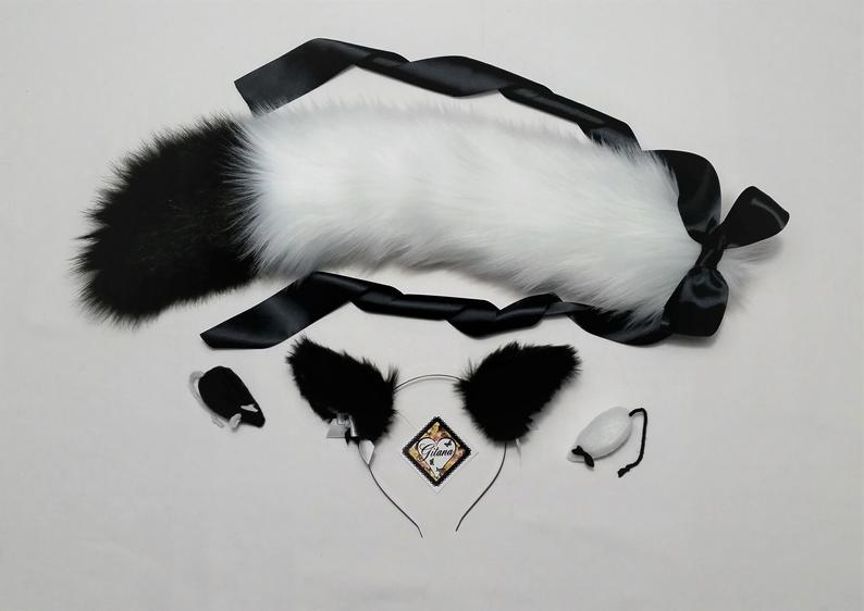 Black And Whitecat Ears And Tailcat Headbandcat Tailfox Etsy Cat Ears And Tail Cat Halloween Costume Cat Headband