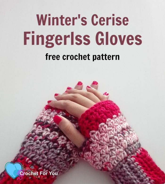 Winter\'s Cerise Crochet Fingerless Gloves Free Pattern | Pinterest ...