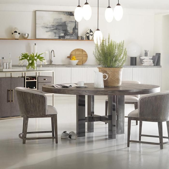 Curata 60 Round Dining Table In Mountain Modern And Nickel