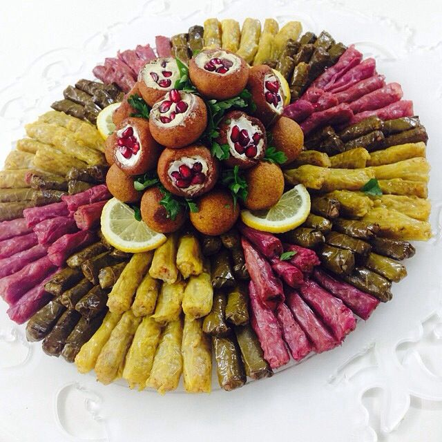 Instagram 222 22 Stuffed Grape Leaves Green Cabbage And Red Cabbage م Buffet Food Party Food Buffet Catering Food