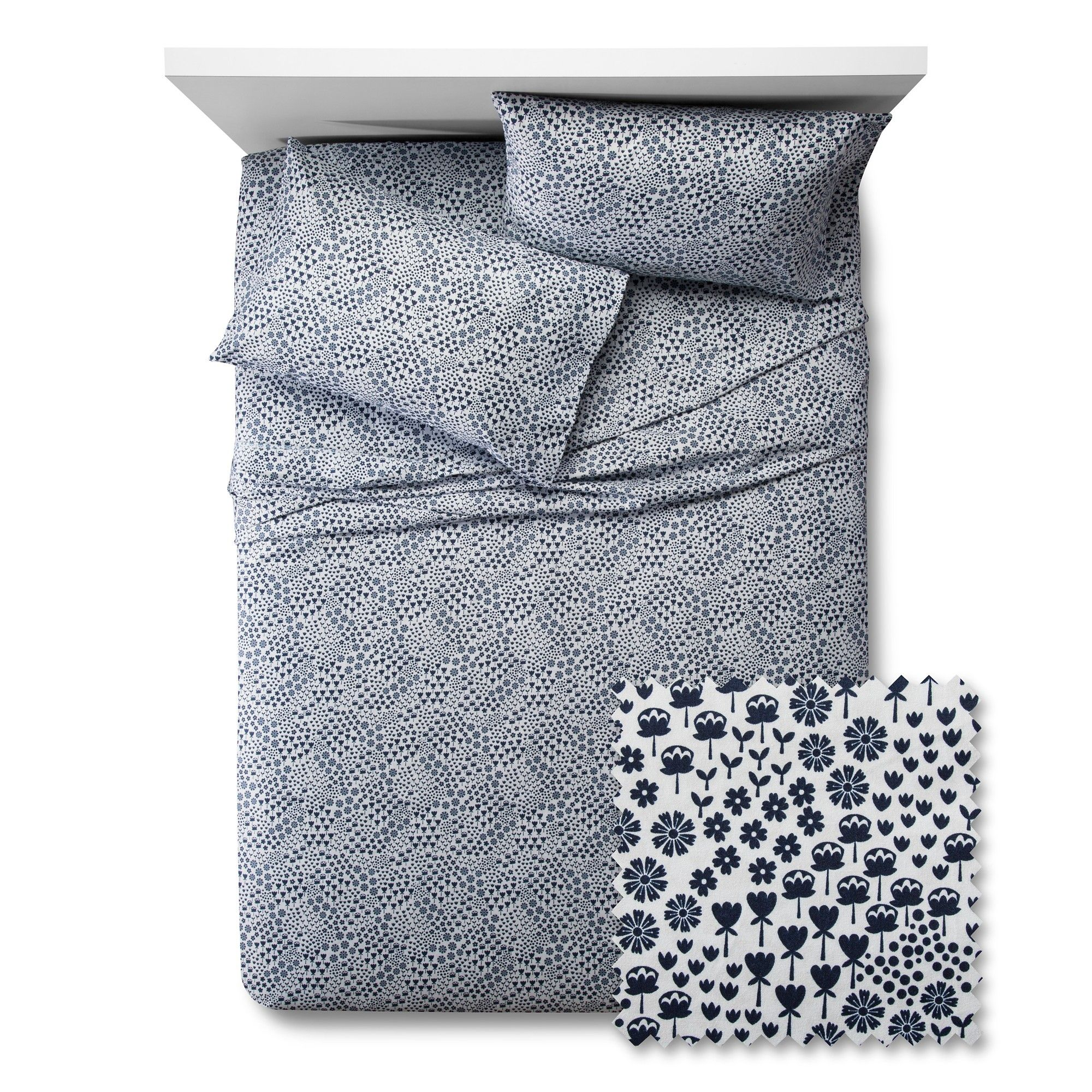 Fetching Florals Sheet Set - Pillowfort, Blue Overalls
