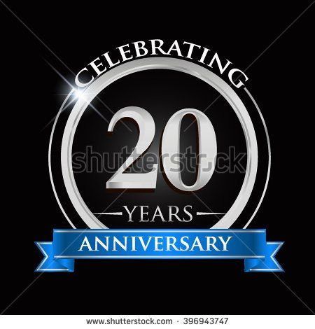 Celebrating years anniversary logo with silver ring and blue ribbon stock vector also rh za pinterest