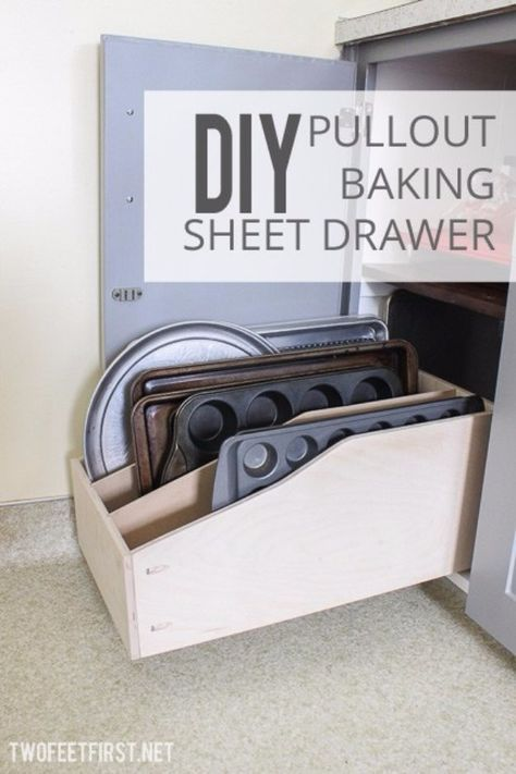 30 awesome diy storage ideas pinterest diy storage baking sheet diy storage ideas diy pullout baking sheet drawer home decor and organizing projects for the bedroom bathroom living room panty and storage projects solutioingenieria Image collections