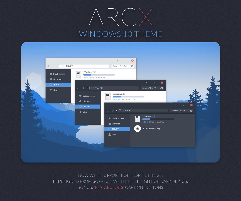 Arc X Windows 10 Theme Windows 10 Windows Theme