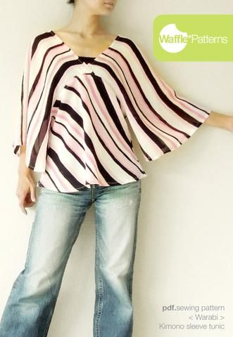 Kimono sleeve tunic -Warabi- (size 34-48) | Sewing | Pinterest ...