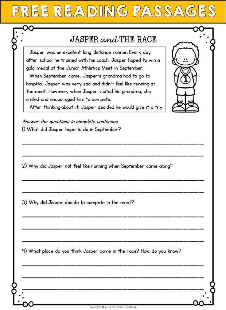 Second Grade Reading Comprehension Passages and Questions ...