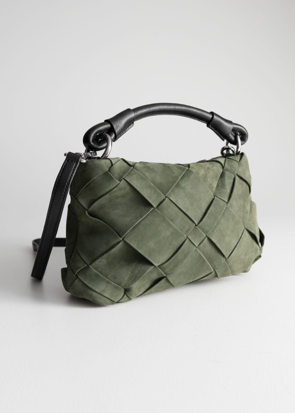 Grain Leather Hobo Bag Burgundy Shoulderbags Other Stories Leather Hobo Bag Crossbody Bag Bags