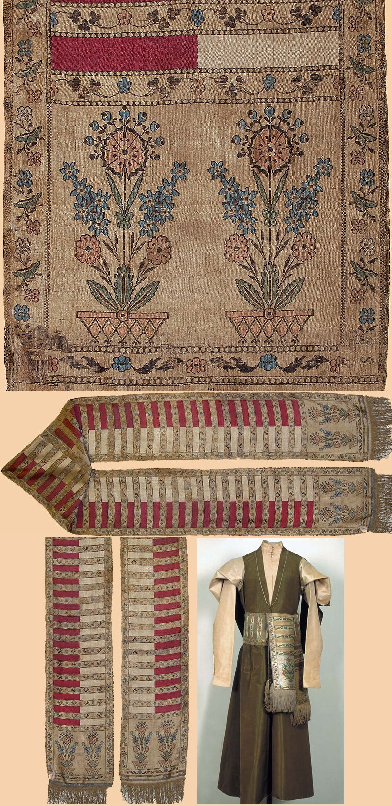 Polish silk sash early th century antique embroidery pieces