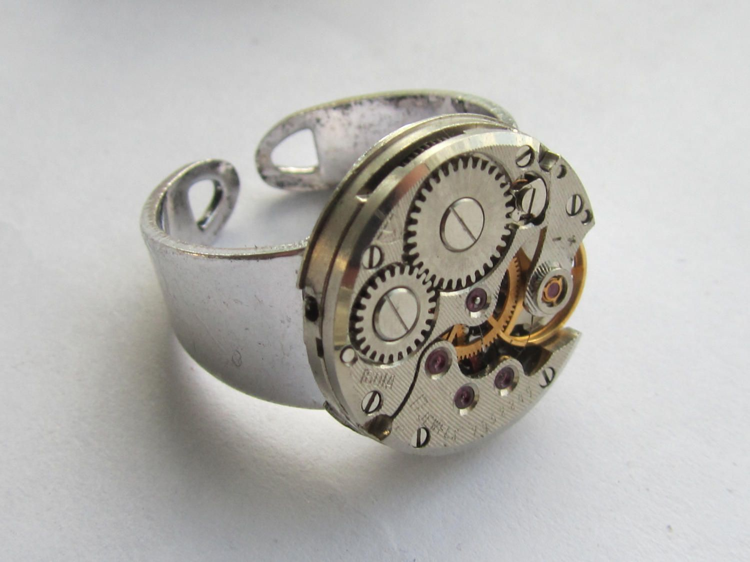 Steampunk Adjustable Watch Ring Gift For Him Mens Birthday Ideas Industrial Jewellery Boyfriend Anniversary Gifts