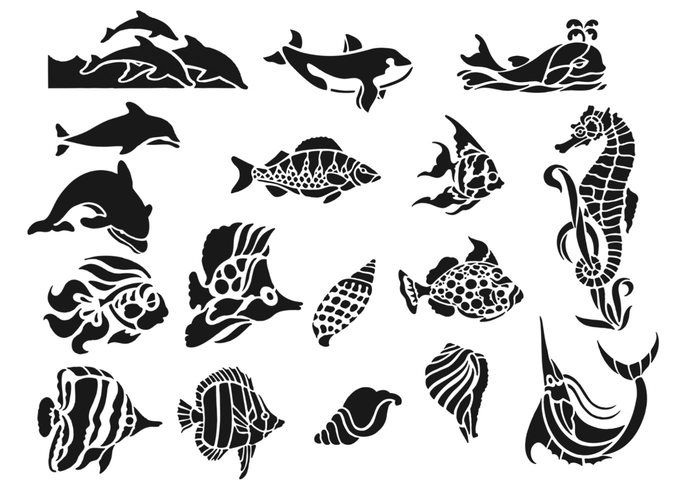 Sea Creatures vol.1 - Free Photoshop Brushes at Brusheezy!