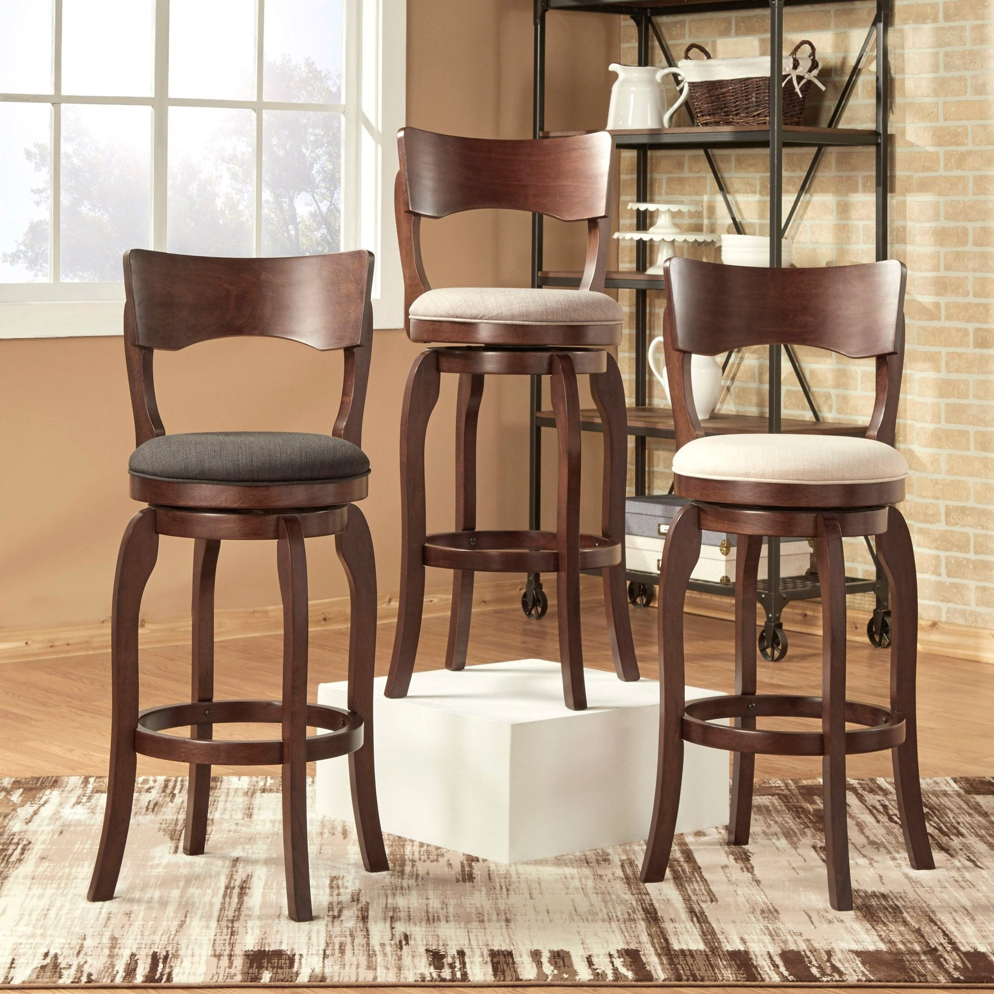 Lyla Swivel 29 Inch Brown High Back Bar Height Barstool By Inspire