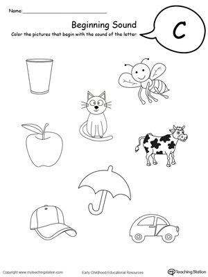 Practice Beginning Letter Sound Worksheet in Color