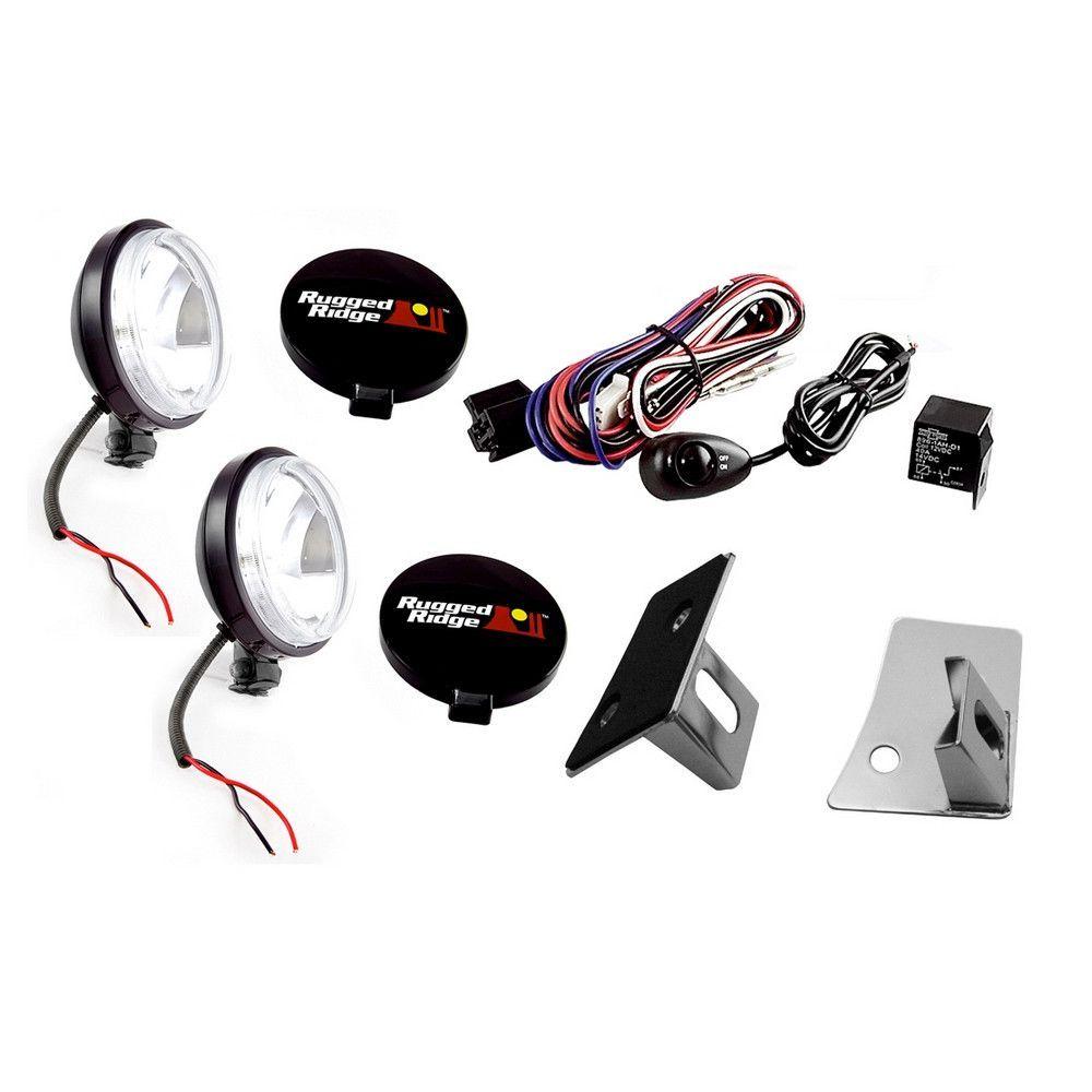 Slim Fog Lights 5 Piece Black Wrangler Jk 07 13 New Includes Jeep Light Wiring Windshield Mount Brackets 2 100 Watt And Harness With