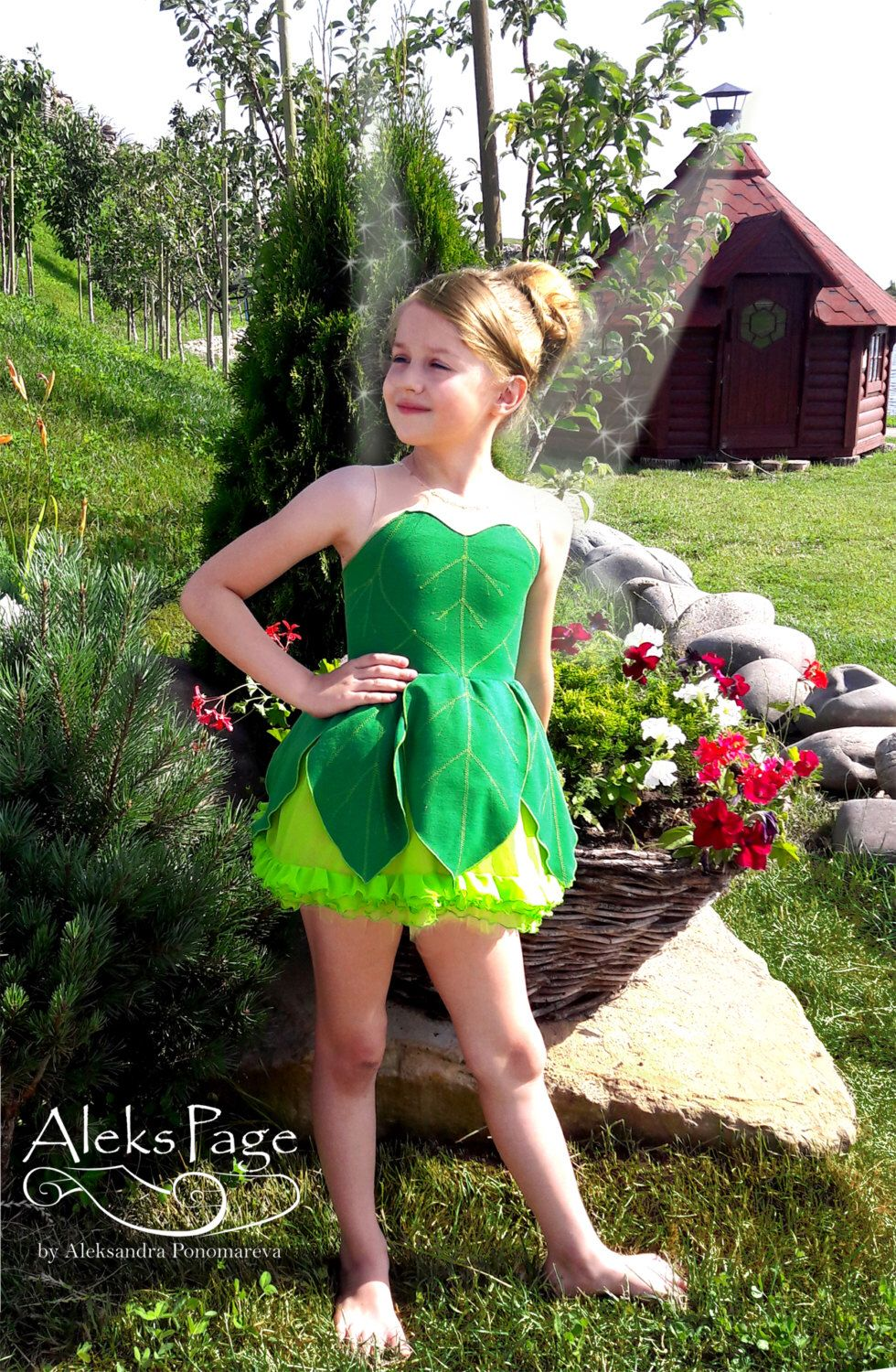 Tinker Bell Fairy Dress, Disney Princess Cosplay Costume, Fantasy Cartoon Gown, Green Outfit for girl, Halloween by AleksPage on Etsy https://www.etsy.com/listing/278331186/tinker-bell-fairy-dress-disney-princess