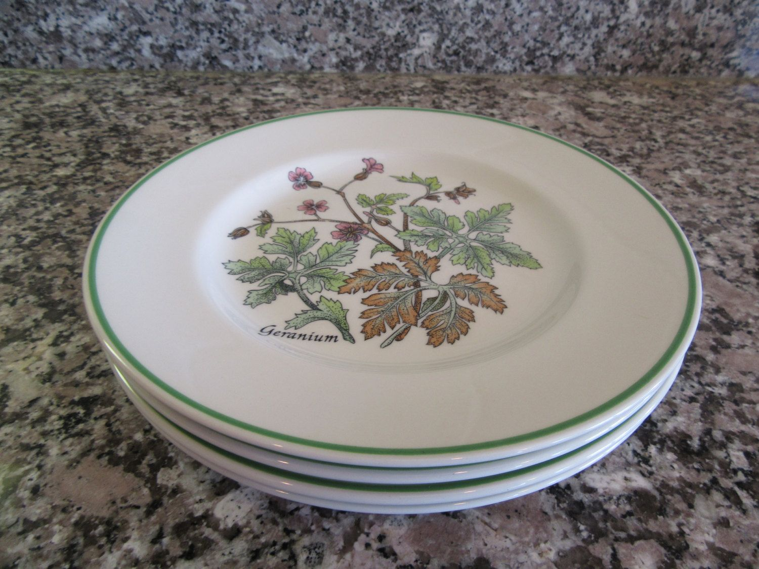 """4 vintage luncheon/salad plates- Tiffany """"Wild Flowers""""- made by Johnson Brothers, England- beautiful, great condition by HeathersCollectibles on Etsy"""