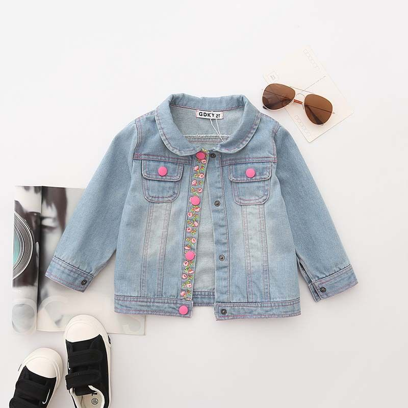 cbaafb635 Click to Buy    Children s Girls Coats Cowboy Floral Jackets Denim ...