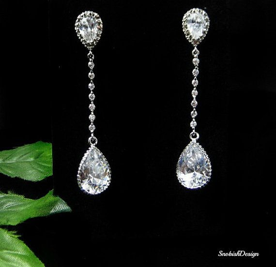 Cubic Zirconia Wedding Earrings Long Crystal By Sishdesign 69 00