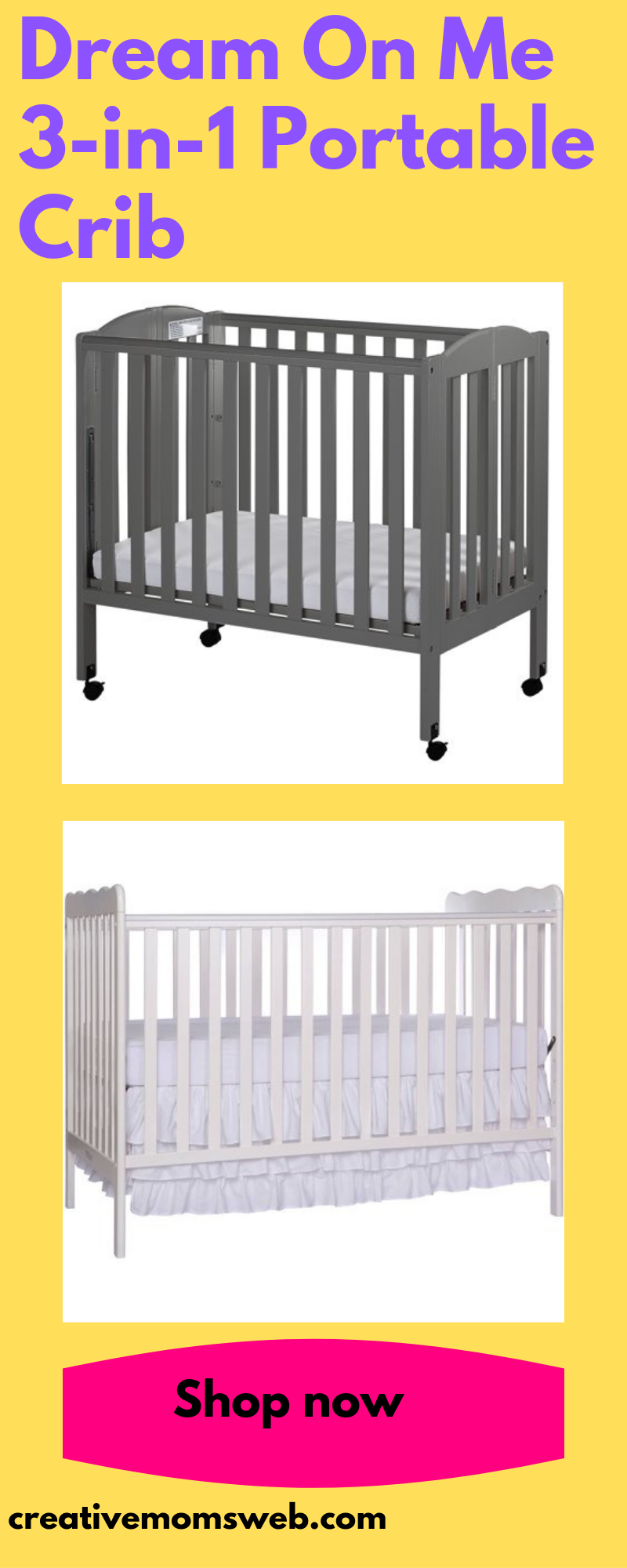 Dream On Me 3 In 1 Portable Crib Portable Crib Cribs Small Space Baby
