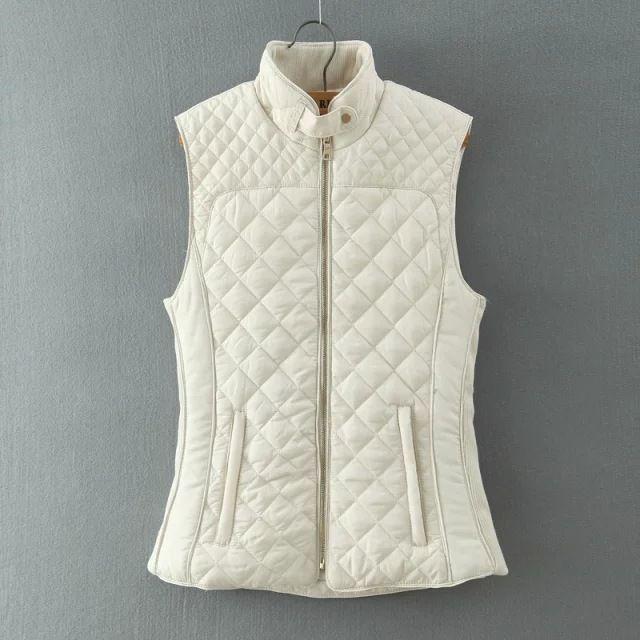 2016 Autumn Winter Women Quilting Plaid Cotton Padded Vest Waistcoat Fashion Sleeveless Jacket YN-3693
