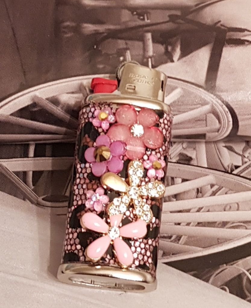 Bic Mini Lighter Case/Pink Leopard And Flowers Pink