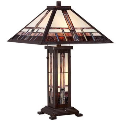 """Geometric Art Glass Mission Table Lamp 26"""" high. Shade is 18"""" square."""