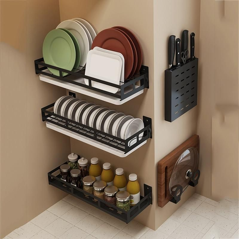 Declutter Your Kitchen Counter With These Wall Mounted Kitchen Shelves From Homewhi Kitchen Organization Wall Wall Mounted Kitchen Shelves Wall Storage Shelves